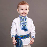 """Голубо-желтая вышиванка для мальчика """"Украинский принц"""" на рост 80-116 см, фото 1"""
