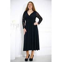 Вечернее черное платье миди Рейм
