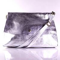 (Beata) Итальянская кожаная сумка бакэтбэг BIW0-039 серебристый