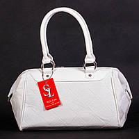 Белая женская сумка-саквояж матовая дамская