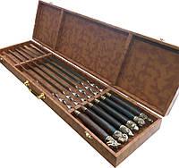 """Подарочный набор """"Трофеи"""" Шампура ручной работы с деревянными ручками в кейсе коричневый кожзам, 6 шт"""