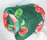 Полуторное одеяло из овечьей шерсти Лери Макс на зеленом цветы