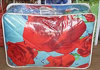Полуторное одеяло из овечьей шерсти Лери Макс розы на синим