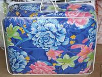 Полуторное одеяло из овечьей шерсти Лери Макс цветы на синим фоне