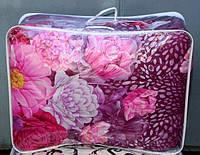 Полуторное одеяло из овечьей шерсти Лери Макс - цветы на фиолетовом