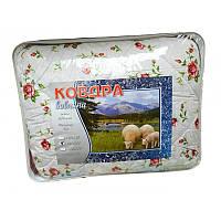 Двуспальное одеяло из овечьей шерсти Лери Макс цветы на белом фоне