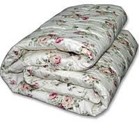 Двуспальное одеяло из овечьей шерсти Лери Макс - бежевые цветочки
