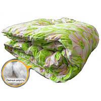 Одеяло из овечьей шерсти Евро размер Лери Макс белые цветы на салатовом фоне