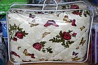 Ковдра полуторна з овечої вовни Лері Макс Gold - бордові трояндочки на бежевому фоні