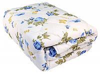 Одеяло полуторное из овечьей шерсти Лери Макс Gold на белом фоне синие цветы