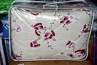 Одеяло двуспальное из овечьей шерсти Лери Макс Gold розовые цветы