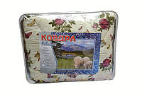 Одеяло двуспальное из овечьей шерсти Лери Макс Gold - бордовые розочки и бабочки