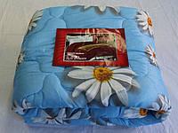 Полуторное одеяло Лери Макс наполнитель двойной силикон - ромашки на голубом