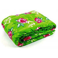 Полуторное одеяло Лери Макс наполнитель двойной силикон - цветы на салатовом