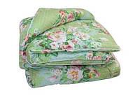 Двуспальное одеяло Лери Макс наполнитель двойной силикон - цветы на зеленом