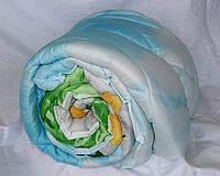 Двуспальное одеяло Лери Макс наполнитель двойной силикон цветы на голубом