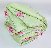 Двуспальное одеяло Лери Макс наполнитель двойной силикон - цветы на салатовом