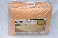 Покрывало с подушками на кровать ТЕП двуспальный размер персиковый цвет