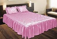 Покрывало с подушками на кровать ТЕП двуспальный размер - розовое