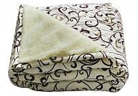 Одеяло двуспальное из овечьей шерсти GOLD вензеля (кофе на молоке)