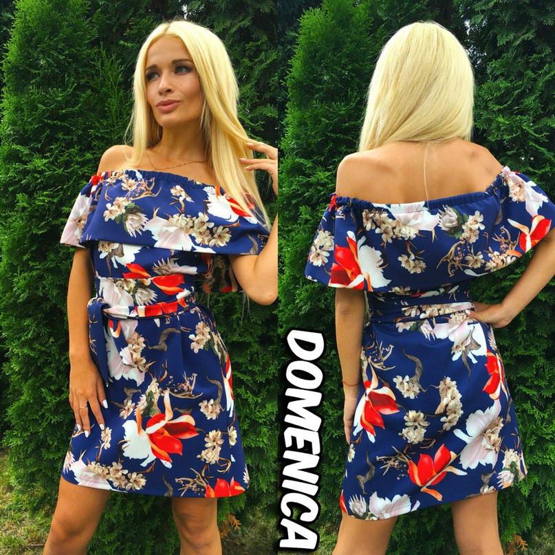 Цветочное платье с воланом и тканевым поясом