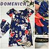 Цветочное платье с воланом и тканевым поясом, фото 3