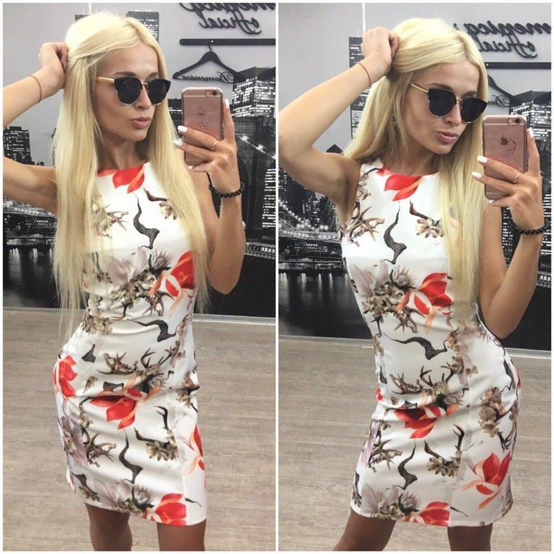 Платье-футляр с цветочным принтом