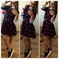 Платье  на поясе верх рубашечного кроя а низ расклешонная юбка с разнодлинным низом 104 АВ, фото 1
