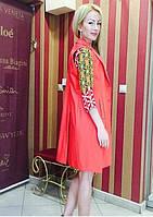 Женская жилетка удлиненная безрукавка кораллового цвета Италия