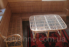 Мебель угловая плетеная с большим столом