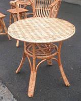 Плетений стіл круглий з полицею