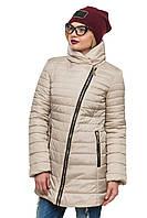 Стеганная зимняя куртка с интересным фасоном, 44-54 размер