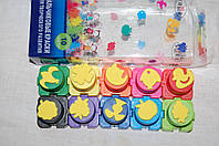 Пальчиковые краски для творческого развития 10 цветов+штампики