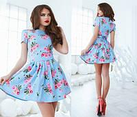 """Элегантное короткое женское платье 1061 """"Клёш Джинс Розы"""" в расцветках"""