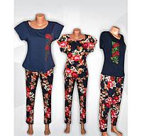 Комплект блуза синяя с вышивкой + штаны реактив