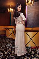 Женское вечернее платье в пол. Бежевое. 4 цвета.