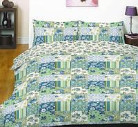 Постельное белье полуторный нежно зеленые цветочные кубики