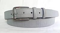 Кожаный ремень 35 мм светло-серого цвета пряжка классическая серебряного цвета