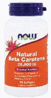 Натуральный бета-каротин, Now Foods, Natural Beta-Carotene, 25,000 IU, 90 sgels