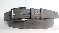 Кожаный ремень 35 мм тёмно-серого цвета пряжка классическая серебряного цвета