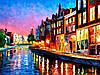 Картина по номерам «Идейка» (КН2142) Вечерний Амстердам (Леонид Афремов), 50x40 см