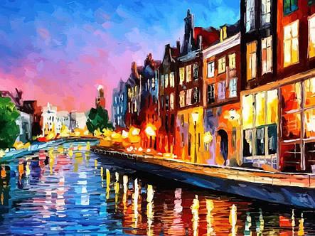 Картина по номерам «Идейка» (КН2142) Вечерний Амстердам (Леонид Афремов), 50x40 см, фото 2