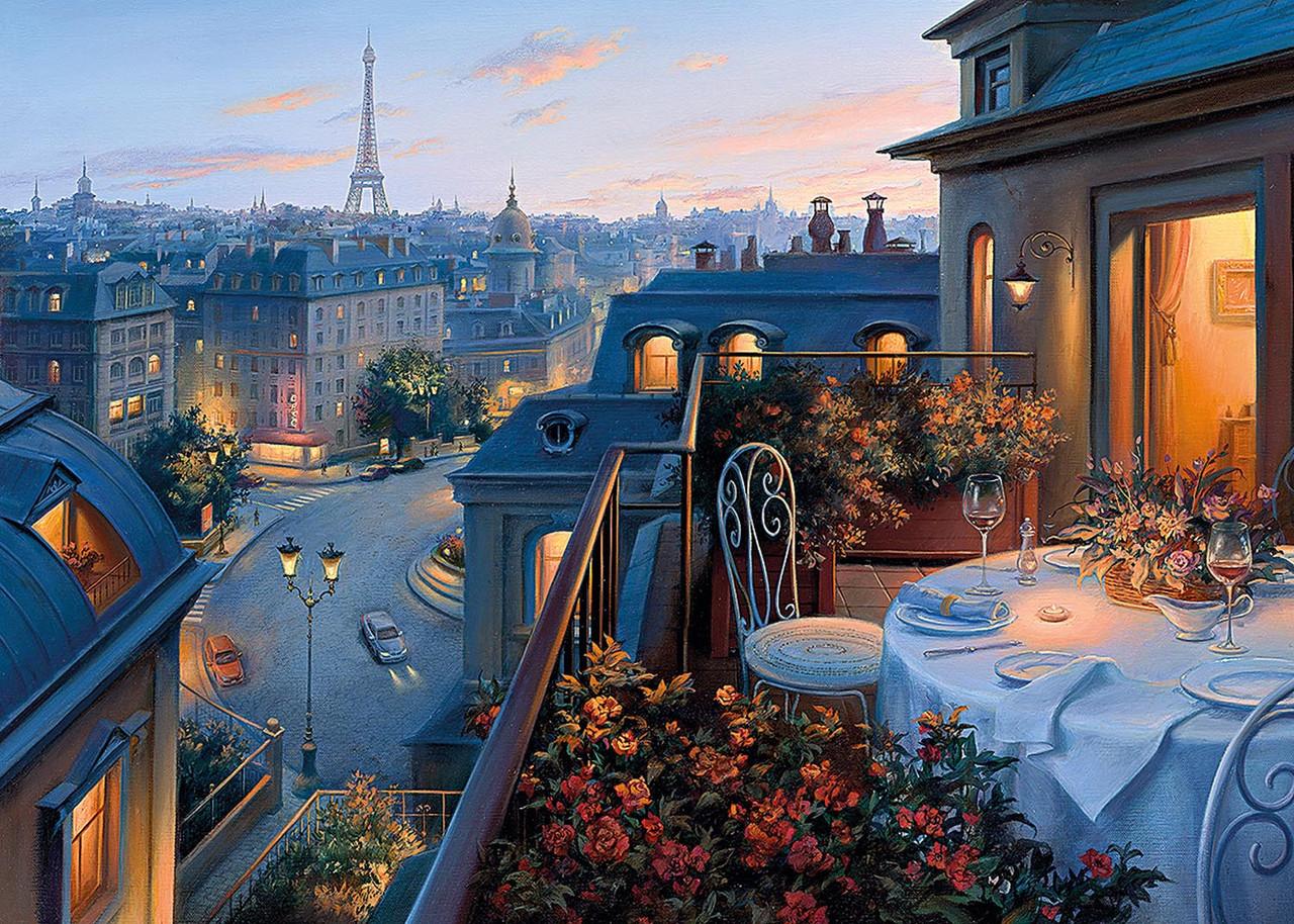 Картина по номерам «Идейка» (КН1107) Парижский балкон (Евгений Лушпин), 50x40 см