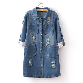 Женская джинсовая курточка удлиненная, фото 2