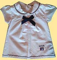 Белое с синим бантиком платье для новорожденной девочки 3,6,9 м