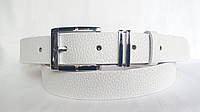 Кожаный ремень 35 мм белого цвета пряжка классический комплект комбинированный хром с чёрнымы вставками