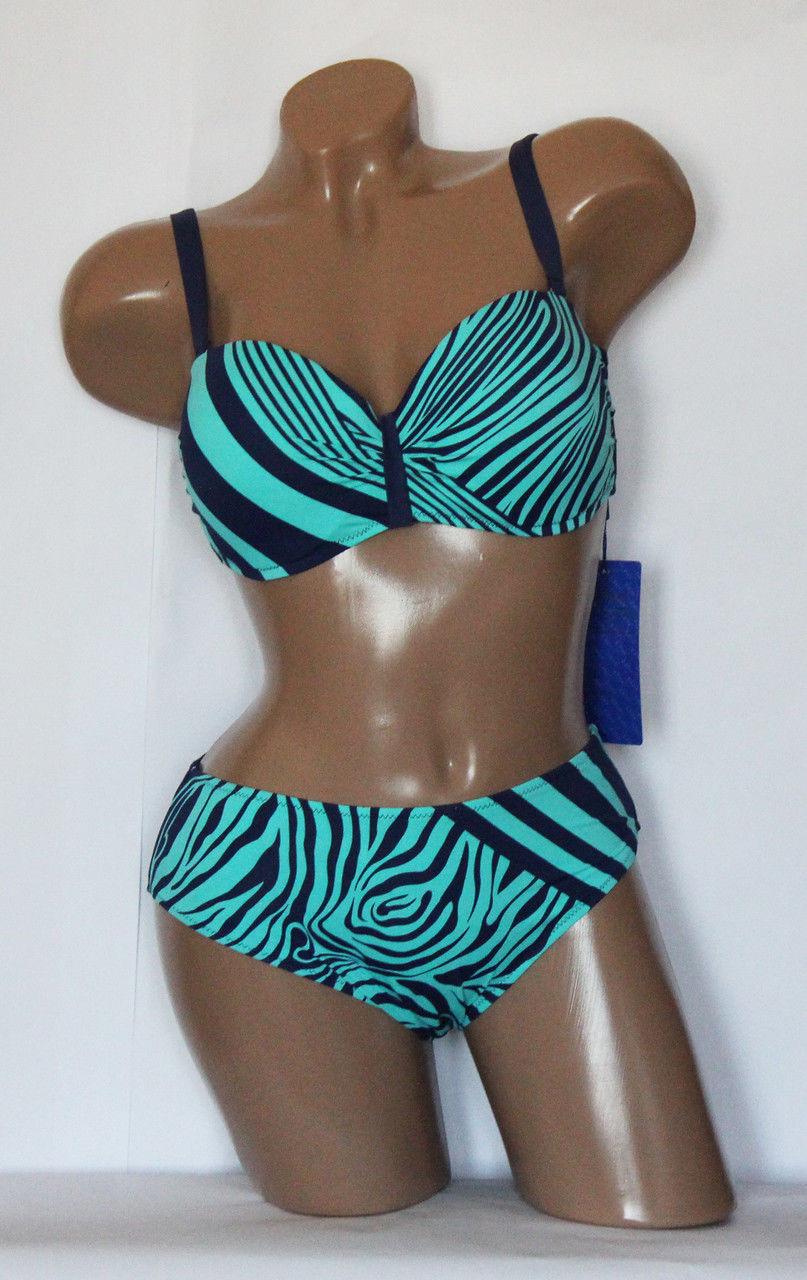 Роздільний ефектний жіночий купальник з зебровым принтом