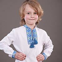"""Голубо-желтая вышиванка для мальчика """"Украинский принц"""" на рост 80-116 см"""