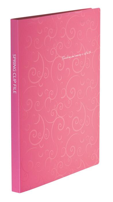 Папка-скоросшиватель Buromax А4 розовый Barocco с пружиной, бок. карм. (BM.3409-10)