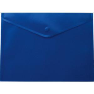 Папка-конверт А4 на кнопці прозора синя